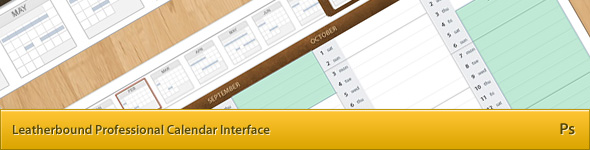Leatherbound Calendar Interface Template PSD (Five view modes)